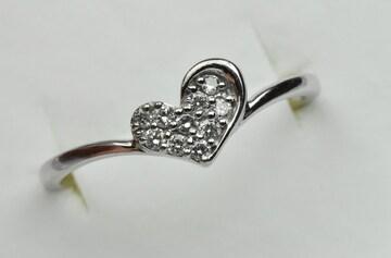 K18WG ハート 0.10ct ダイヤモンドリング 12号 指輪