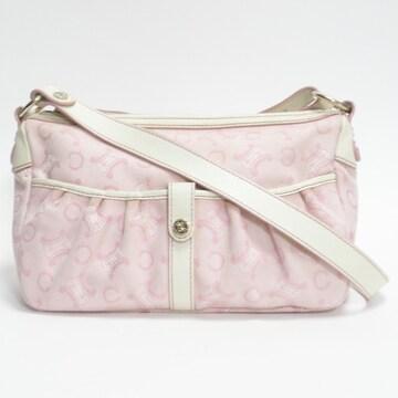 CELINEセリーヌ ショルダーバッグ ロゴ柄 ピンク 良品 正規品
