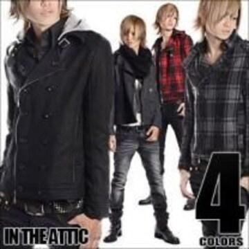 【in the attic】2way♪脱着式フード付メルトンライダーPジャケットブラック