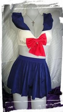コスプレ セーラー服風M ブラジャーショーツセット+スカート ネイビー JK