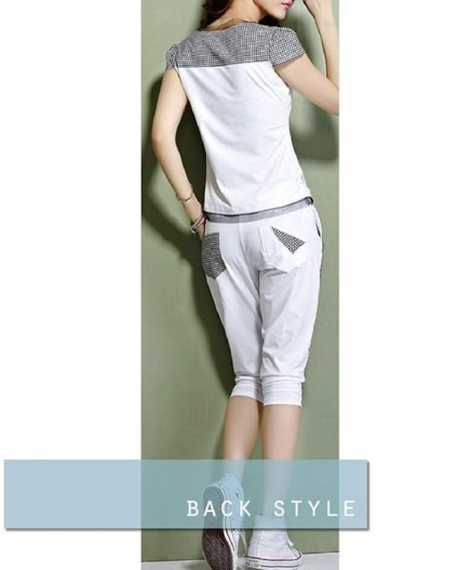 半袖 & 7分丈 ロングパンツ 白 < 女性ファッションの