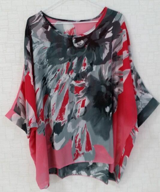 新品[7955]4L〜6L(大きいサイズ)レッドXグレー柄シフォンドルマンシャツ < 女性ファッションの
