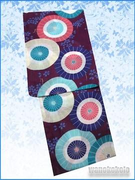 【和の志】女性用浴衣◇Fサイズ◇赤紫系・和傘・小花◇121
