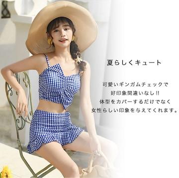 レディース水着 ギンガムチェック レッド ブルー ブラック☆001