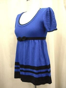 【ING】青/黒のバイゆカラー半袖ニットです