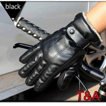 手袋 メンズ 革手袋 レザー グローブ 革 ツーリング 黒