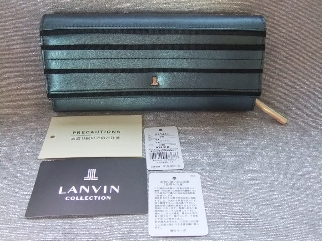 新品■ランバンコレクション■メタリックかぶせリボン革長財布¥20,900  < ブランドの