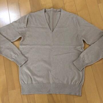 無印良品 MUJI Vネック カットソー セーター キャメル S