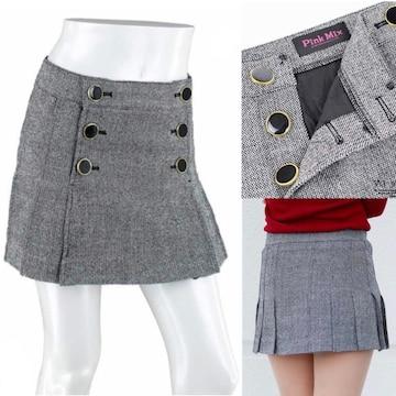 新品/ピンクミックス ツイード プリーツ ミニ スカート
