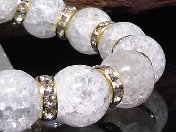 爆裂水晶§クラック水晶14ミリ銀ロンデル数珠