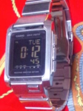 CASIOタフソーラー電波腕時計メタルバンド反転液晶ブラックデシタル