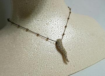 正規 ドルチェ&ガッバーナ ストーン装飾コルノ×ボールネックレス SV925 ゴールド×石