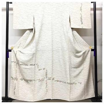 特選 極上 訪問着 単衣仕立て 染め 正絹 ベージュ 裄63 身丈
