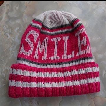 【値下げ不可】極美品!!ピンク×ホワイト SMILE ロゴニット帽