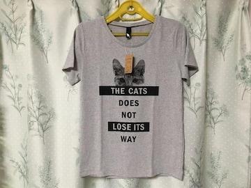新品未使用半袖猫Tシャツねこネコ灰色グレーCAT Lサイズ