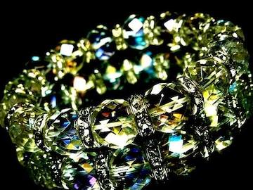 64面ダイヤカットレインボーオーラ水晶§12ミリ§銀ロンデル数珠