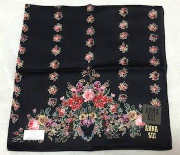 ANNA SUI★黒×花柄★ハンカチ