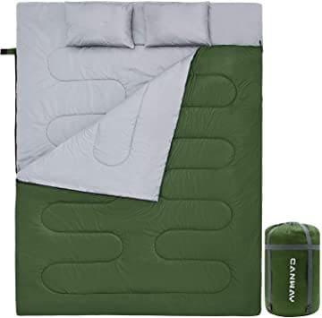 グリーン 寝袋 枕2つ付 2人用  連結解体可能 車中泊 防災用 災害