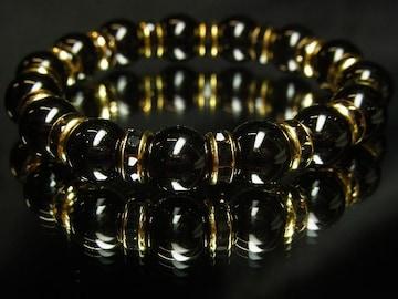 開運天然石!!ブラックオニキス10ミリ数珠ブレスレット!!漆黒の輝き