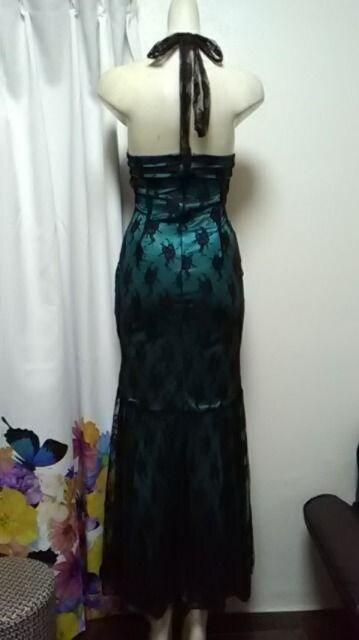 (ム)IVONY・レース ホルターロングドレス < 女性ファッションの