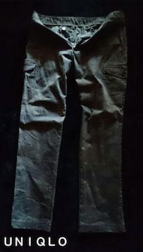 【UNIQLO】Washed ストレッチスリムストレートカーゴパンツ W88�p/Olive 迷彩柄