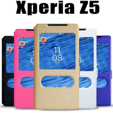 Xperia Z5 SO-01H/SOV32窓付きフリップ手帳型ケース