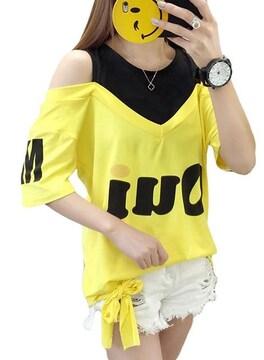 オフショルダー ゆったりTシャツ(L寸・黄)