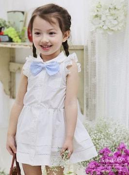 女の子☆肩フリルホワイトワンピース