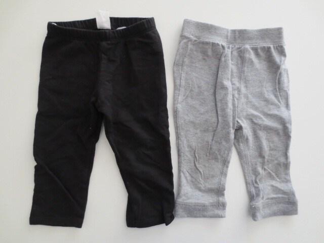 即決/H&M/ミキハウス/ストレッチ長ズボン/子供用/黒×グレー/80  < ブランドの