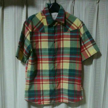 イール eel 半袖シャツMサイズ緑黄色赤チェックシャツウエスタンシャツ日本製アメカジ中古服