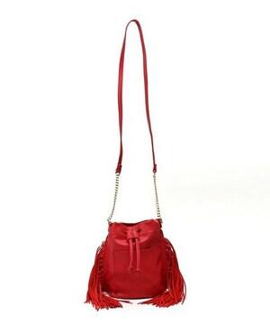 新品タグ付VISビスフリンジショルダーバッグ赤レッドカバン鞄フェイクレザー