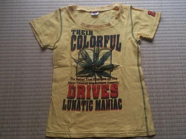 ダメージ加工★プリント 半袖T シャツ150 黄色  < キッズ/ベビーの