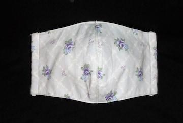 即決◆大きめ◆淡い紫薔薇×薄グレー地◆ファッションマスク