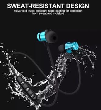 Bluetoothイヤホン ワイヤレスイヤホン マグネット 防水 青