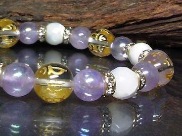 十二支梵字水晶§マザーオブパール§アメジスト数珠
