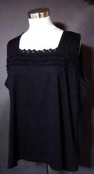 大きいサイズブラック刺繍飾りタンクトップ5L