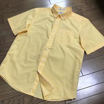 エルエルビーン 防シワ加工ギンガムチェック柄シャツ黄色メンズ