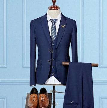 ビジネススーツ 二つボタンジャケット+ベスト +パンツ/AK384