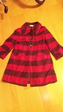 赤×黒チェック柄コート