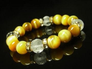 風水四神彫本水晶×ゴールデンタイガーアイブレスレット 10ミリ数珠