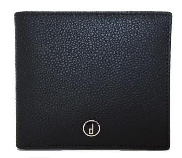 未使用正規ダンヒル財布二つ折り型押しレザーサイフブラッ