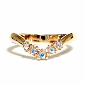 9号 クリスタル Vライン オーロラクリア ピンクゴールド指輪