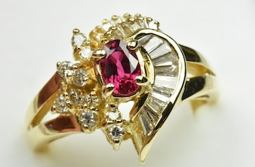 K18 ゴールド ルビー ダイヤモンドリング 12.5号 指輪