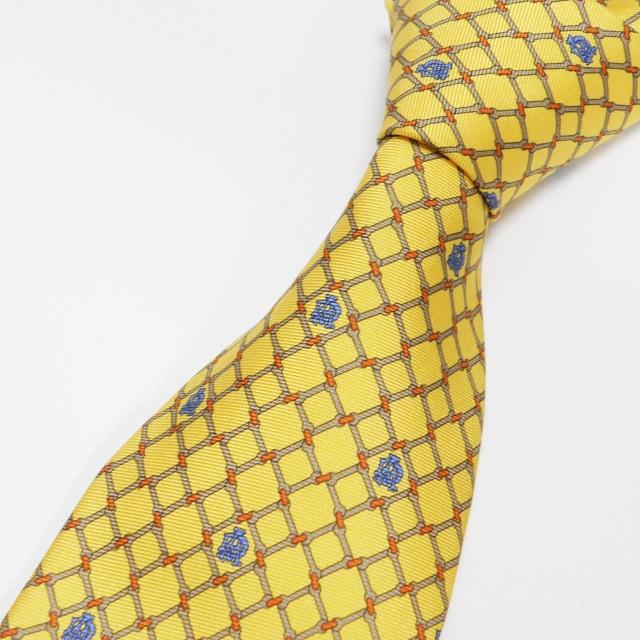 美品dunhill ダンヒル ネクタイ シルク 黄色 良品 正規品  < ブランドの