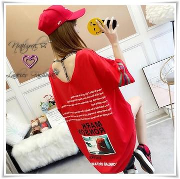 新作★大きいサイズ2L3L 可愛ぃバクプリ&胸元クラッシュTシャツ*赤