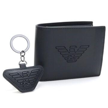 エンポリオアルマーニ 折財布 キーリングセット Y4R174 YFE6J 81072 BLACK