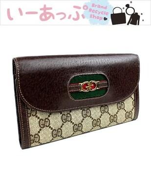 オールドグッチ 三つ折り財布 GUCCI 美品 茶 h896