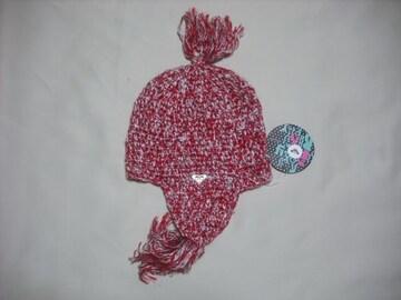 wb536 ROXY ロキシー 耳当て付き ニット帽 赤
