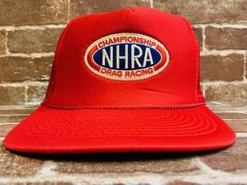 表記F/新品!ドラッグレーシング NHRA 赤 メッシュキャップ 帽子 アメカジ 117Y