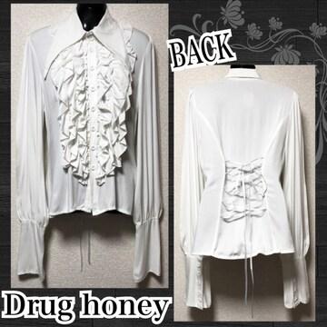 【新品/Drug honey】フロントフリルBACKスピンドルシャツ